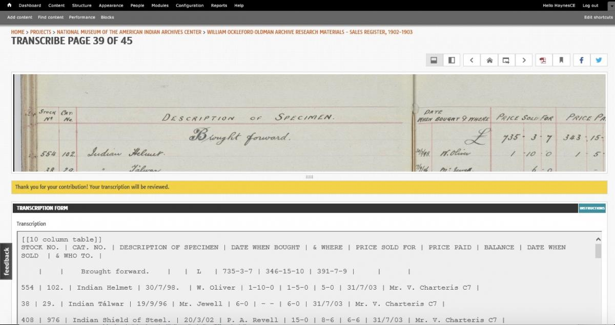 William O  Oldman Sales Registers, 1902-1903 - Instructions Page
